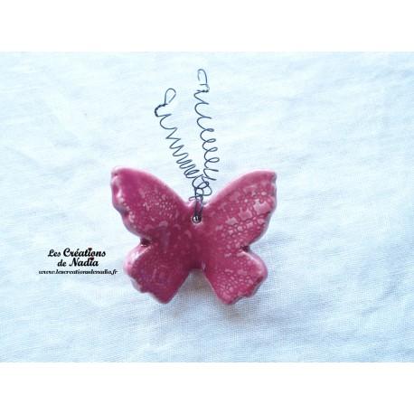 Papillon en céramique pour les jardins et jardinières taille petit, couleur rose