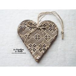 Coeur Liesel couleur crème en poterie