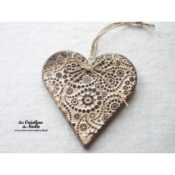 Coeur Liesel bicolore crème en poterie