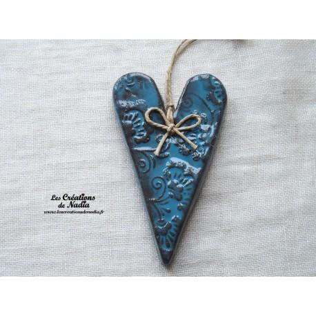 Coeur céramique en faïence émaillée bleu Suzel fabriqué en Alsace