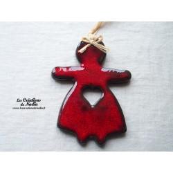 Maïdela en céramique couleur rouge pomme d'amour