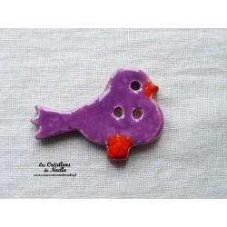 """Bouton """"Piou-Piou"""" oiseau couleur lilas"""