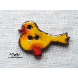 "Bouton ""Piou-Piou"" oiseau couleur jaune"