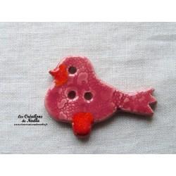 """Bouton """"Piou-Piou"""" oiseau couleur rose"""
