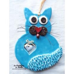 Chat en céramique couleur bleu lagon