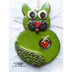 Félix le Chat en céramique vert reinette
