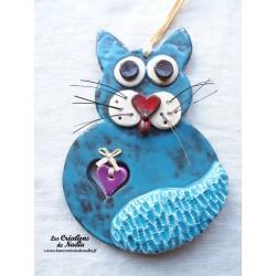 Chat en céramique couleur bleu canard
