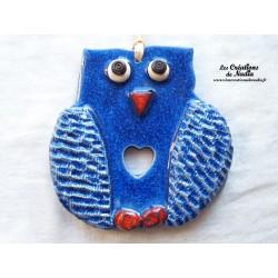 Hibou en céramique couleur bleu outremer