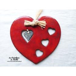 Coeur en céramique Joséphine (Finela) couleur  rouge piment
