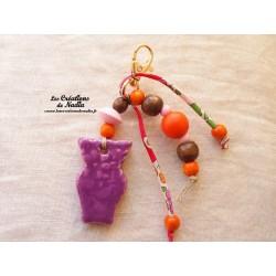 Grigri bijoux de sac porte clés hibou couleur lilas