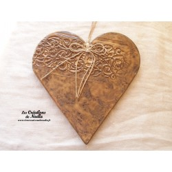 Coeur en céramique Hansi crème brûlée