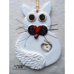 Chat en céramique couleur blanc