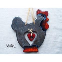 Cotkodec la poule en céramique couleur gris métal