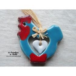 Poulette la poule en céramique couleur bleu lagon