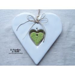 Coeur en céramique Hansi couleur blanc