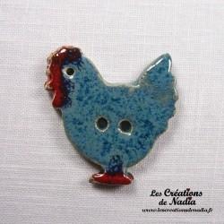 Bouton poule bleu