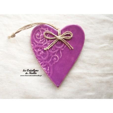 Coeur en céramique Lina couleur Lilas