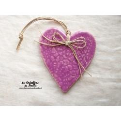 Coeur en céramique Lina couleur Lilas, fines impressions
