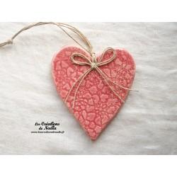 Coeur en céramique Lina couleur rose, fines impressions