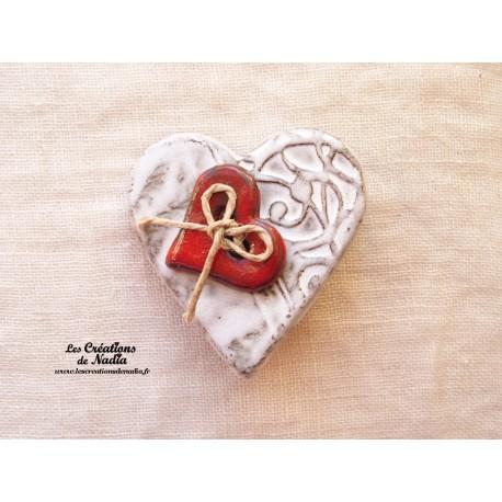 Broche coeur en céramique couleur Elsass café