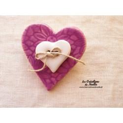 Broche coeur en céramique couleur lilas