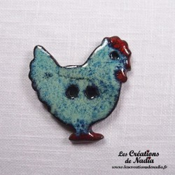 Bouton poule turquoise