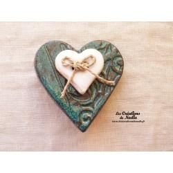 Broche coeur en céramique vert émeraude