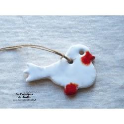 Oiseau Piou-Piou en céramique couleur blanc