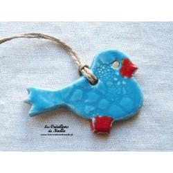Oiseau Piou-Piou en céramique couleur bleu lagon