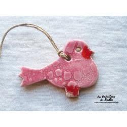Oiseau Piou-Piou en céramique couleur rose