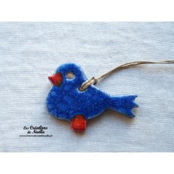 Oiseau Piou-Piou en céramique bleu outremer