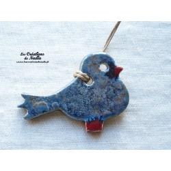 Oiseau Piou-Piou en céramique bleu gris métal