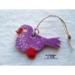Oiseau Piou-Piou en céramique couleur lilas