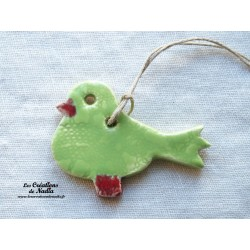 Oiseau Piou-Piou en céramique couleur vert amande