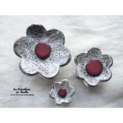 Poppies fleurs pour les jardinières, série de trois fleurs couleur Elsass café et vieux rose