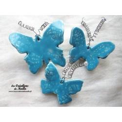 Lot de trois papillons en céramique pour les jardins et jardinières, couleur bleu lagon