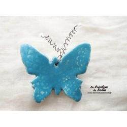Papillon en céramique pour les jardins et jardinières taille grand, couleur bleu lagon