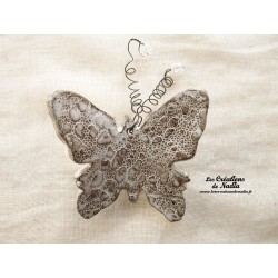 Papillon en céramique pour les jardins et jardinières taille grand, couleur Elsass café