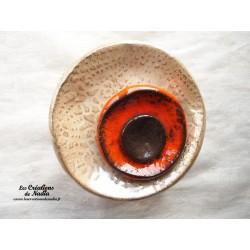 Fleur à coroles petit modèle, couleur marron glacé, orange et noir