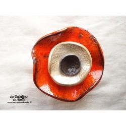 Fleur à coroles petit modèle, couleur orange, marron glacé et noir