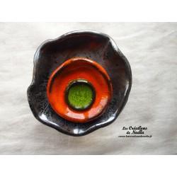 Fleur à coroles petit modèle, couleur gris métal, orange et vert