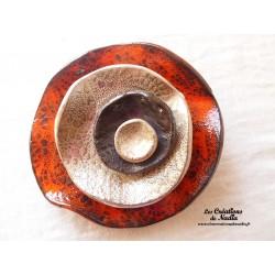 Fleur à coroles, moyen modèle, couleurs orange, marron glacé, noir