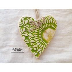 Coeur en céramique Lina couleur vert printemps, impressions