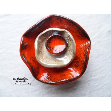 Fleur à coroles petit modèle, couleur orange,  marron glacé