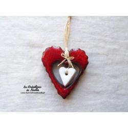 Grand coeur dentelé rouge piment