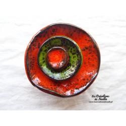 Fleur à coroles petit modèle, couleur orange, vert reinette et orange