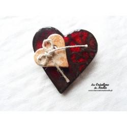Broche coeur en céramique couleur rouge pomme d'amour