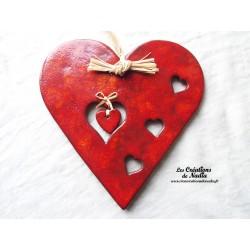 Gros coeur en céramique rouge piment