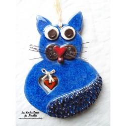 Félix le Chat en céramique bleu outremer