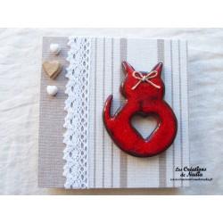 Tableau chat couleur rouge pomme d'amour